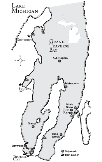 Grand Traverse Bay Underwater Preserve map