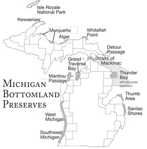 Map of Michigan Underwater Preserve system